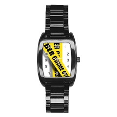 Internet Crime Cyber Criminal Stainless Steel Barrel Watch