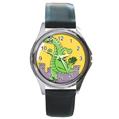 Godzilla Dragon Running Skating Round Metal Watch