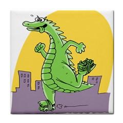 Godzilla Dragon Running Skating Tile Coasters