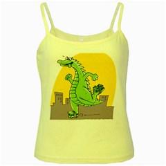 Godzilla Dragon Running Skating Yellow Spaghetti Tank