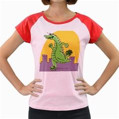 Godzilla Dragon Running Skating Women s Cap Sleeve T-Shirt