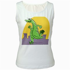 Godzilla Dragon Running Skating Women s White Tank Top