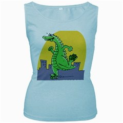 Godzilla Dragon Running Skating Women s Baby Blue Tank Top