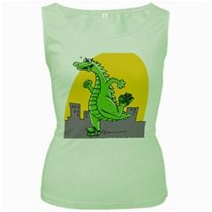 Godzilla Dragon Running Skating Women s Green Tank Top
