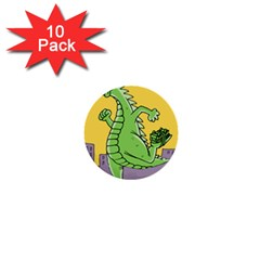 Godzilla Dragon Running Skating 1  Mini Buttons (10 pack)
