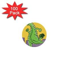 Godzilla Dragon Running Skating 1  Mini Buttons (100 pack)