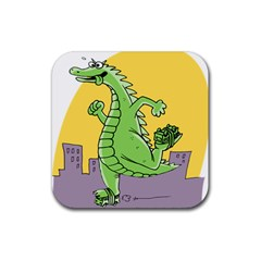 Godzilla Dragon Running Skating Rubber Square Coaster (4 pack)