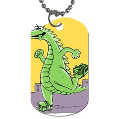 Godzilla Dragon Running Skating Dog Tag (One Side)