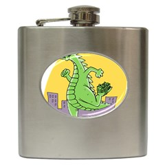 Godzilla Dragon Running Skating Hip Flask (6 oz)