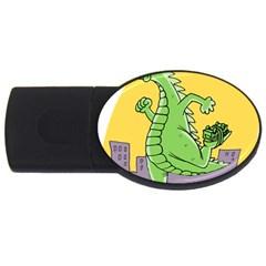 Godzilla Dragon Running Skating USB Flash Drive Oval (1 GB)