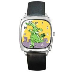 Godzilla Dragon Running Skating Square Metal Watch