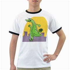 Godzilla Dragon Running Skating Ringer T-Shirts