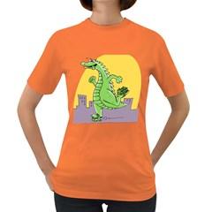 Godzilla Dragon Running Skating Women s Dark T-Shirt