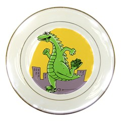 Godzilla Dragon Running Skating Porcelain Plates