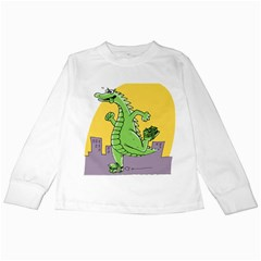Godzilla Dragon Running Skating Kids Long Sleeve T-Shirts