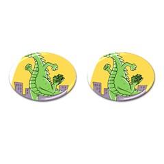 Godzilla Dragon Running Skating Cufflinks (Oval)