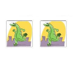 Godzilla Dragon Running Skating Cufflinks (Square)