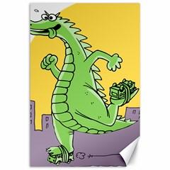 Godzilla Dragon Running Skating Canvas 24  x 36