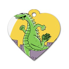 Godzilla Dragon Running Skating Dog Tag Heart (One Side)