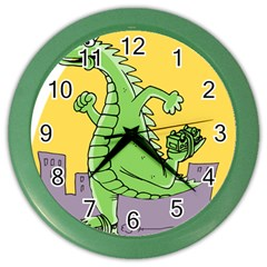 Godzilla Dragon Running Skating Color Wall Clocks