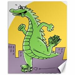 Godzilla Dragon Running Skating Canvas 11  x 14