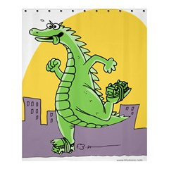 Godzilla Dragon Running Skating Shower Curtain 60  x 72  (Medium)