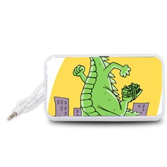Godzilla Dragon Running Skating Portable Speaker (White)