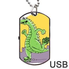 Godzilla Dragon Running Skating Dog Tag USB Flash (One Side)