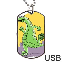 Godzilla Dragon Running Skating Dog Tag USB Flash (Two Sides)