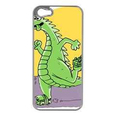 Godzilla Dragon Running Skating Apple iPhone 5 Case (Silver)