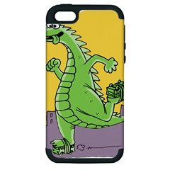 Godzilla Dragon Running Skating Apple iPhone 5 Hardshell Case (PC+Silicone)