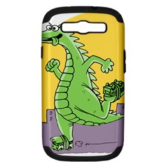 Godzilla Dragon Running Skating Samsung Galaxy S III Hardshell Case (PC+Silicone)