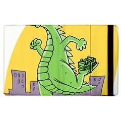 Godzilla Dragon Running Skating Apple iPad 2 Flip Case