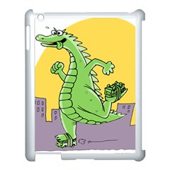 Godzilla Dragon Running Skating Apple iPad 3/4 Case (White)