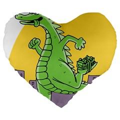 Godzilla Dragon Running Skating Large 19  Premium Heart Shape Cushions