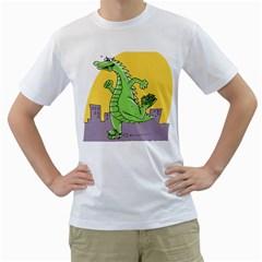 Godzilla Dragon Running Skating Men s T-Shirt (White)