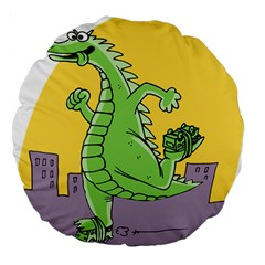 Godzilla Dragon Running Skating Large 18  Premium Flano Round Cushions