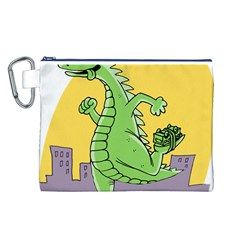 Godzilla Dragon Running Skating Canvas Cosmetic Bag (L)