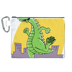 Godzilla Dragon Running Skating Canvas Cosmetic Bag (XL)