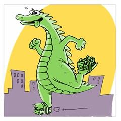 Godzilla Dragon Running Skating Large Satin Scarf (Square)