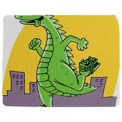 Godzilla Dragon Running Skating Jigsaw Puzzle Photo Stand (Rectangular)