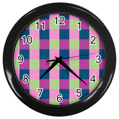 Pink Teal Lime Orchid Pattern Wall Clocks (Black)