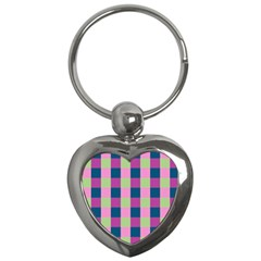 Pink Teal Lime Orchid Pattern Key Chains (Heart)