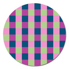 Pink Teal Lime Orchid Pattern Magnet 5  (Round)