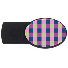Pink Teal Lime Orchid Pattern USB Flash Drive Oval (1 GB)