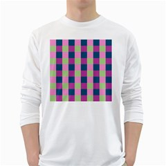 Pink Teal Lime Orchid Pattern White Long Sleeve T-Shirts