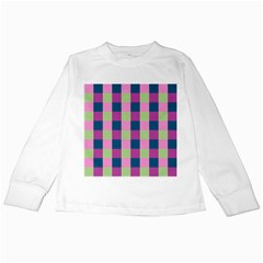 Pink Teal Lime Orchid Pattern Kids Long Sleeve T-Shirts