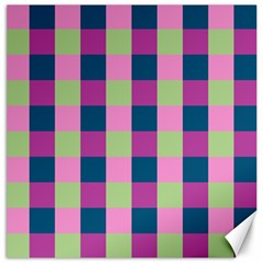 Pink Teal Lime Orchid Pattern Canvas 12  x 12