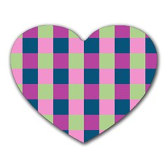 Pink Teal Lime Orchid Pattern Heart Mousepads
