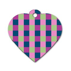 Pink Teal Lime Orchid Pattern Dog Tag Heart (One Side)